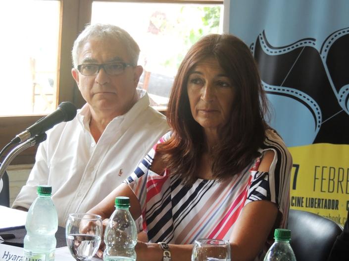 Hyara Rodriguez (MINTUR) y Luis Borsari Director de Turismo de Maldonado en el lanzamiento del Festival de Cine de Punta del Este